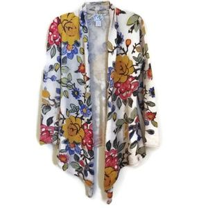 Anthro Tabitha Long Floral Multicolor Cardigan SzS